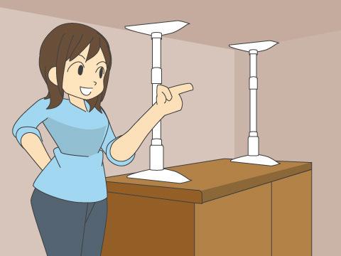 つっぱり棒で家具の転倒防止を