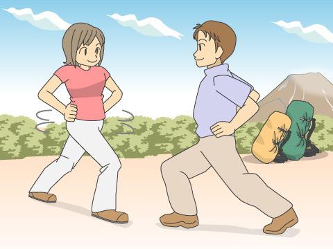 下山後の柔軟運動