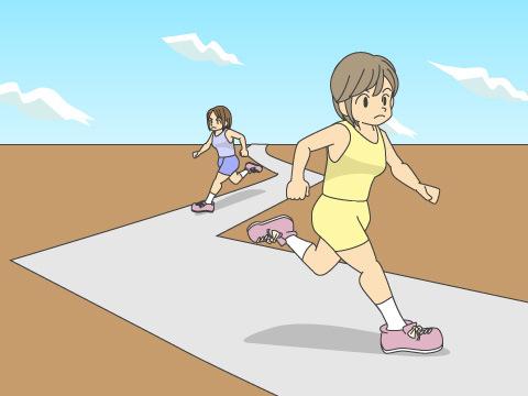 マラソンのコースは曲がり角が多い