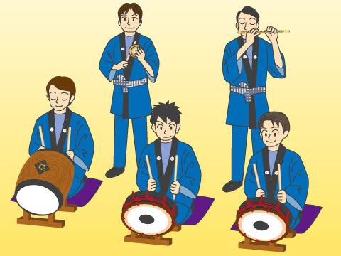 祭囃子の演奏