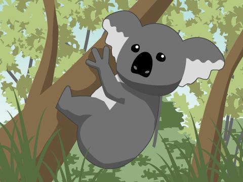 ≪例≫埼玉県こども動物自然公園「斜めの木が入っているコアラ展示場」