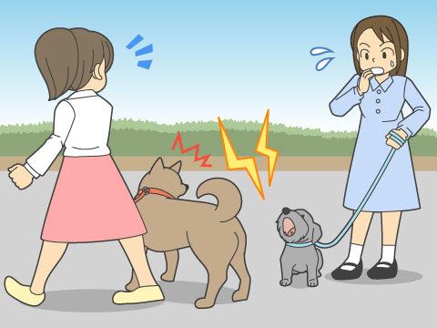 よその犬に吠える