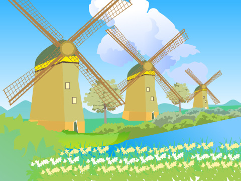 キンデルダイク-エルスハウトの風車群/オランダ