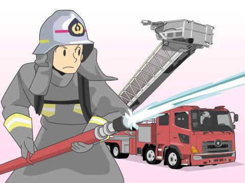 火災に応じて活躍する消防車
