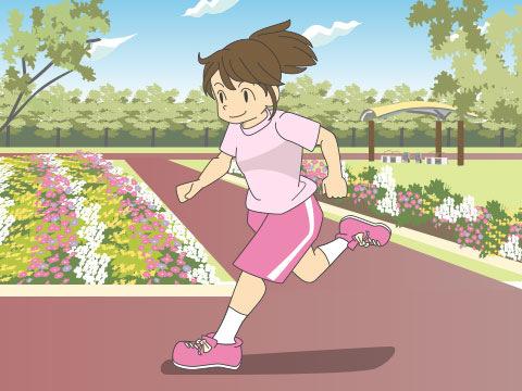 公園でジョギングを楽しむ